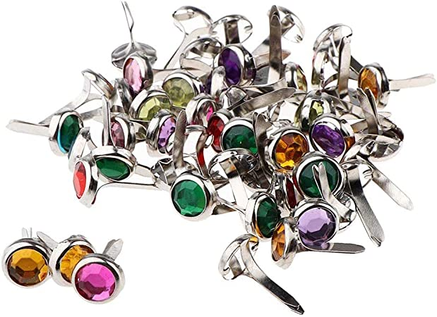 MUCHEN SHOP Mini Brads,100 Pack Multicolor Scrapbooking Brads de Metal Encuadernadores Redondos Brads Papel Artesania Sujetadores para Manualidades: Amazon.es: Hogar