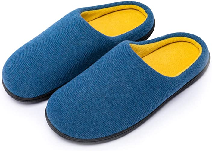 Mens Slippers Two-Tone Memory Foam Plush Cotton Non-Slip Home Shoes Indoor Outdoor