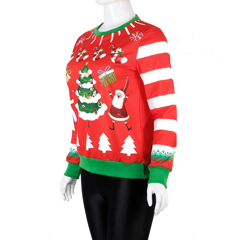 Yvelands Ofertas de Ropa, Vestidos Mujeres Fiesta O-Cuello Impresión Digital de Navidad Camiseta sin Mangas Larga Blusa: Amazon.es: Ropa y accesorios