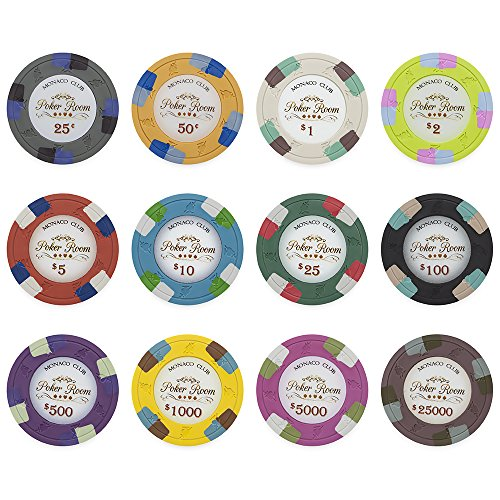 Monaco Club 13.5gm Composite Clay Poker Chip Sample Set - 12 Different Chips! (Sample Poker Chips)