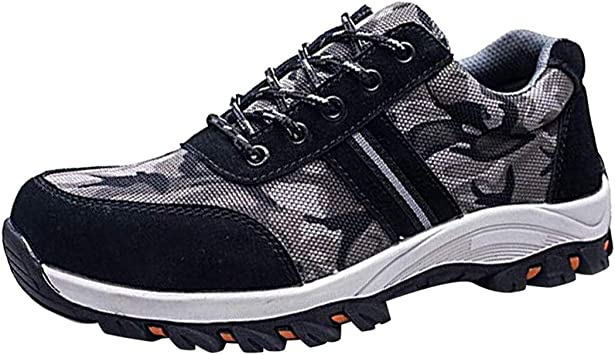 MENS LEATHER SAFETY STEEL TOE CAP BOOTS LADIES WORK HIKING TRAINERS SHOES 6-12