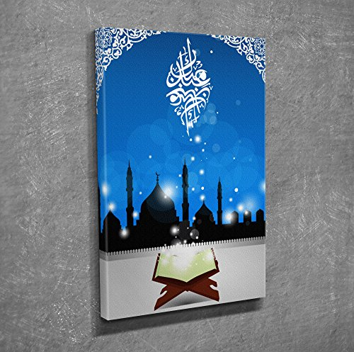 LaModaHome Decorative Canvas Wall Art (12'' x 16'') Wooden Thick Frame Painting Muslim Mosque Motive Night Kuran Religious by LaModaHome