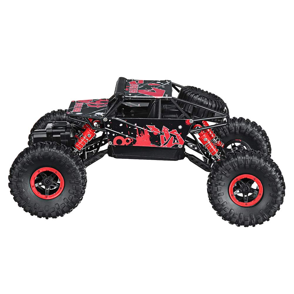 Braceus 2.4G 4WD 1/18 Rock Crawler Remote Control RC Car Buggy Off-Road Vehicle Kids Toy Wall Climbing for Boys for Girls for Toddler for Adults for Kids Red