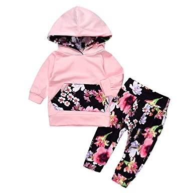 21d98434 Lovely Baby Girls Outfit Winter Floral Hoodie with Pocket Flower Long Pants  Set Leggings 2pcs (