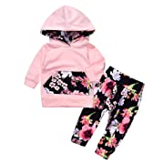 Lovely Baby Girls Outfit Winter Floral Hoodie with Pocket Flower Long Pants Set Leggings 2pcs (3-6M, Floral)