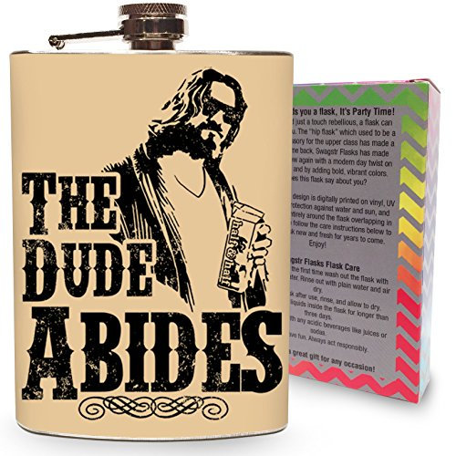 [The Dude Abides Flask Stainless Steel 8oz Liquor Alcohol Metal Drinking Whiskey Flasks Big Lebowski Movie - Gift] (Lebowski Costume Ideas)