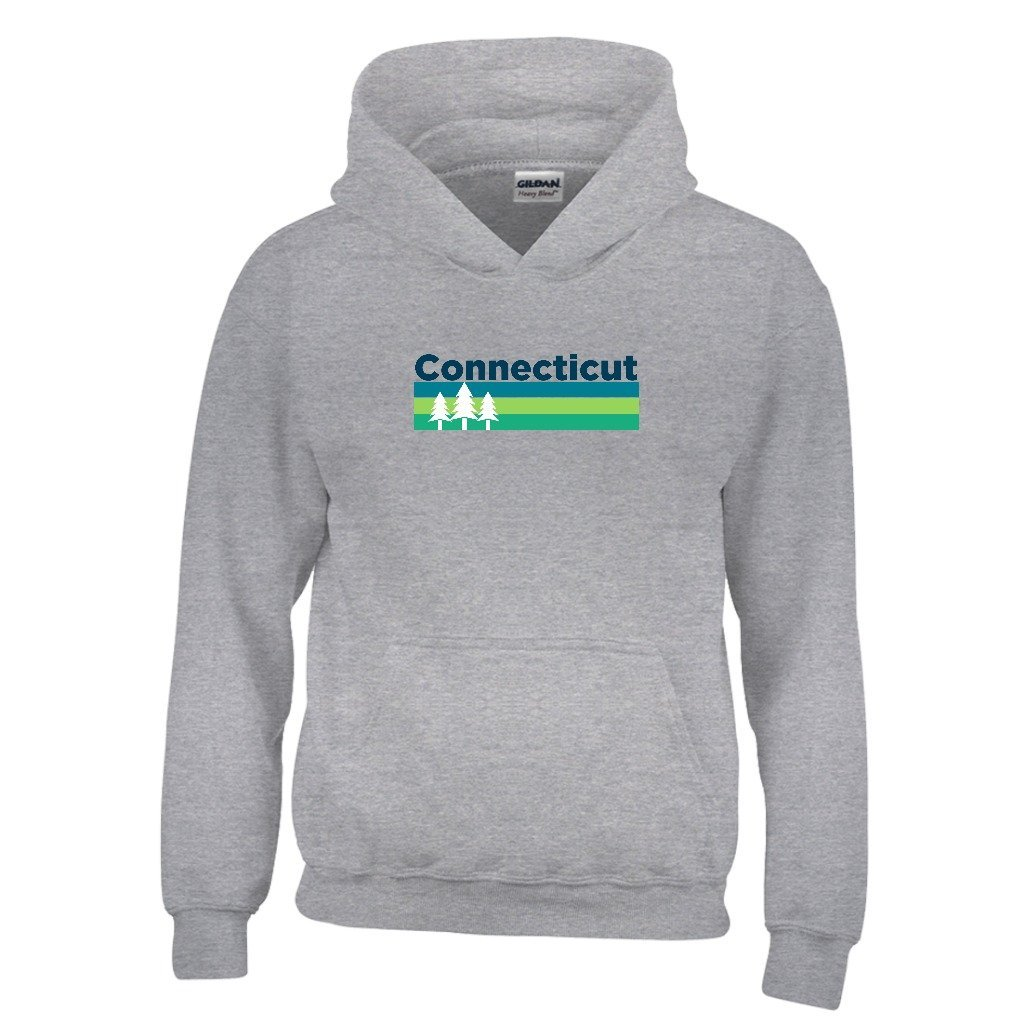 Connecticut Retro Trees Youth Hoodie Kids Sweatshirt