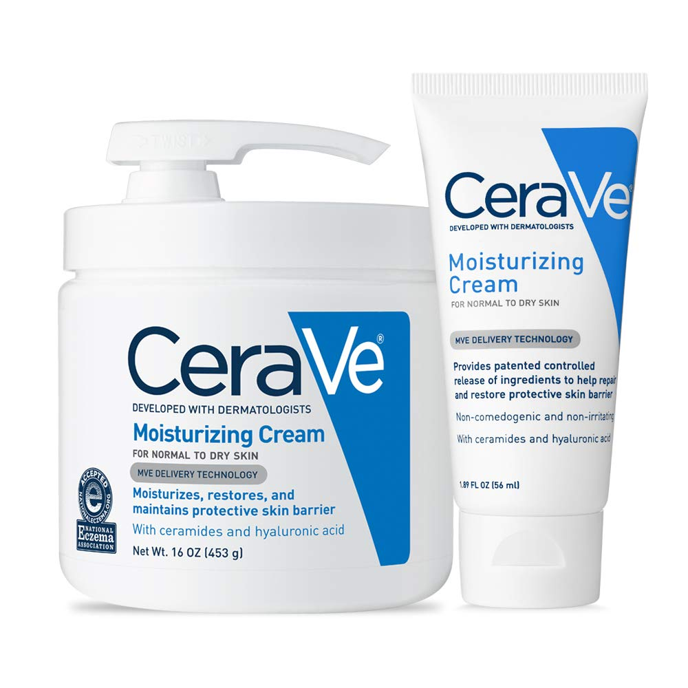 CeraVe Moisturizing Cream Combo Pack | Contains 16 Ounce with Pump and 1.89 Ounce Travel Size | Fragrance Free by CeraVe