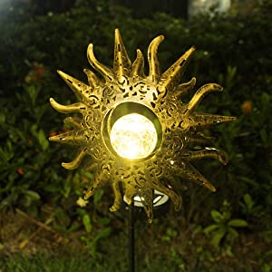 Sun Solar Lights Outdoor, NIORSUN Solar Lights Garden Decorative Metal Stakes Waterproof for Yard, Lawn, Walkway, Flowers