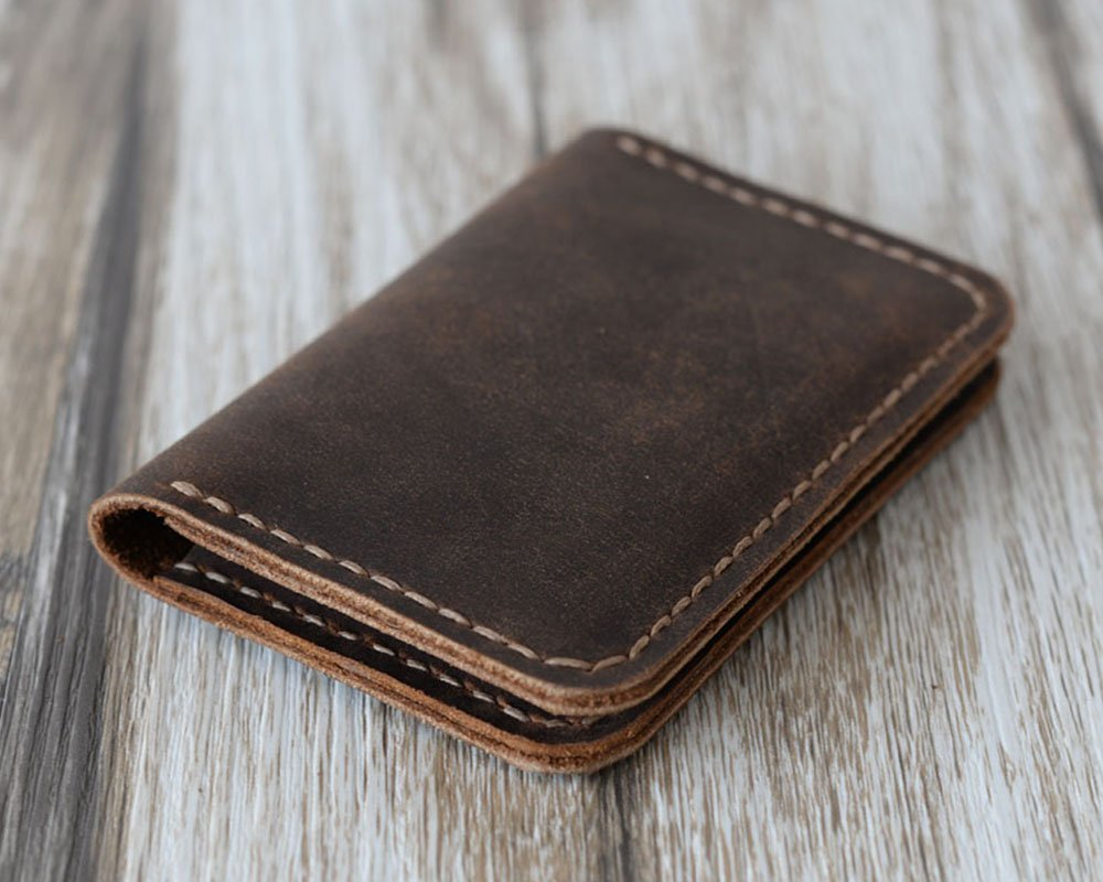 Men's Handmade Slim Leather Wallet Credit Card Holder Slim Wallet Italy oiled Leather (Hold 30 pics of cards)(Distressed Brown)110