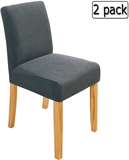 Deisy Dee Stretch Chair Cover Slipcovers for Counter Height Chairs, Bar Stool Chair Covers Pack of 2 C179 (Dark Grey)
