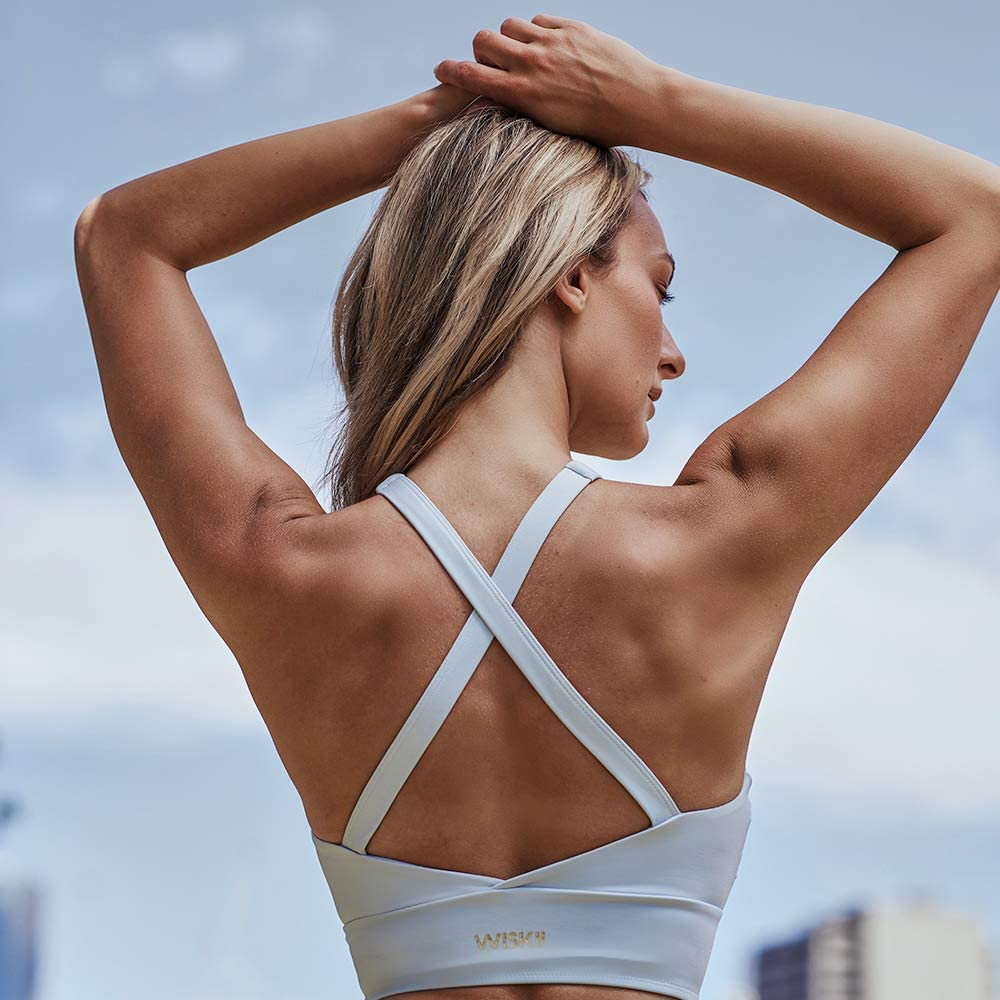 WISKII Sports Bra WS411 Womens Sports Bra High Impact Criss Cross High Neck Yoga Bra Crop Tops for Workout Gym Fitness