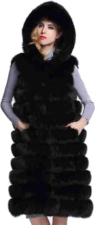 S/&S-women Winter Luxury Round Neck Long Sleeve Fluffy Parka Faux Fox Fur Coat