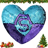 Mermaid Throw Pillows,Two-Color Reversible Sequins Mermaid Heart-Shaped Pillow Cover with Interior(Light Green-Bright Purple)