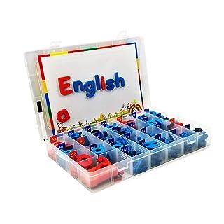 TUOGONGBAO Kit di Lettere magnetiche in Aula con Lavagna Magnetica a Doppio Lato - Lettere dell'alfabeto in Schiuma per Bambini ortografia e apprendimento (104 Pezzi in Scatola)