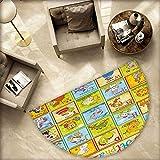 Educational Semicircle Doormat Zoo Alphabet Design Colorful Style Funny Cartoon Animals Children Kids School Halfmoon doormats H 55.1'' xD 82.6'' Multicolor