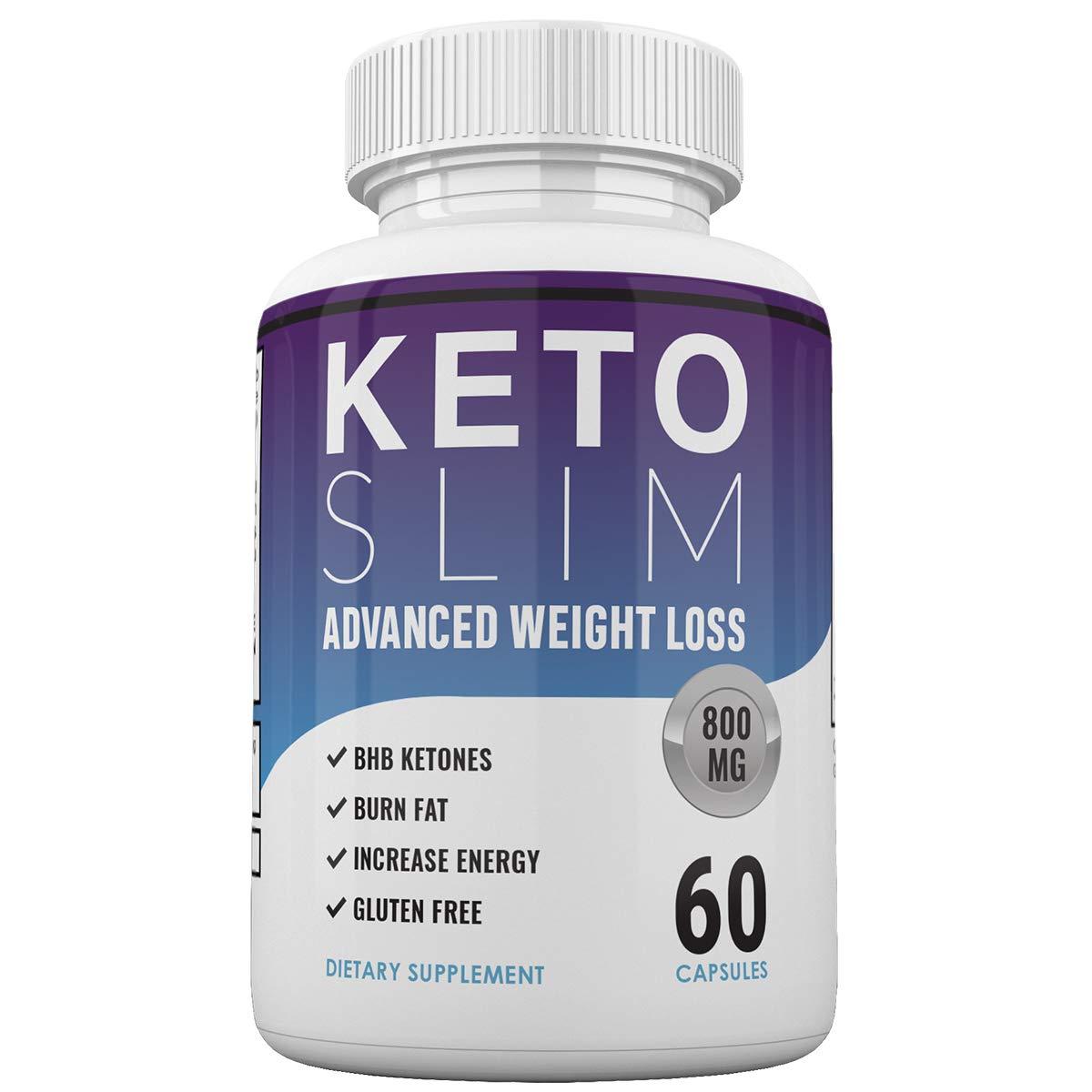 Keto Slim Advanced Weight Loss - Burn Fat Fast for Energy Hack - Beta BHB - Gluten Free - 30 Day Supply - 60 Capsules by Keto Slim Advanced