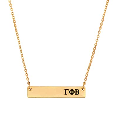 desert cactus gamma phi beta 24k gold plated horizontal bar necklace greek sorority letter with adjustable