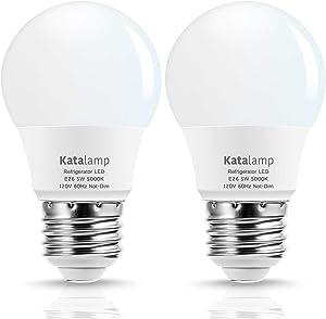Katalamp A15 LED Refrigerator Light Bulb, 5000K Daylight White, 5 Watt Waterproof, 40W Equivalent E26 Base Freezer Bulb, 120V Energy Efficient Ceiling Fan Home Light (2-Pack)