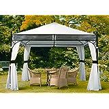 SORARA Gazebo Pavilion | White | 350 x 350 cm/3.5 x 3.5m (UV 50 Outdoor Backyard Shelter Canopy Garden Party Tent