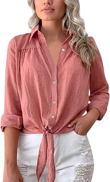 Amlaiworld Blusa Gasa Mujer Primavera Verano Camisa de Mujer de Manga Larga con Botones de Gasa Nudo Vendaje Blusa Tops Camiseta Top Blusa Casual Camisa: Amazon.es: Ropa y accesorios