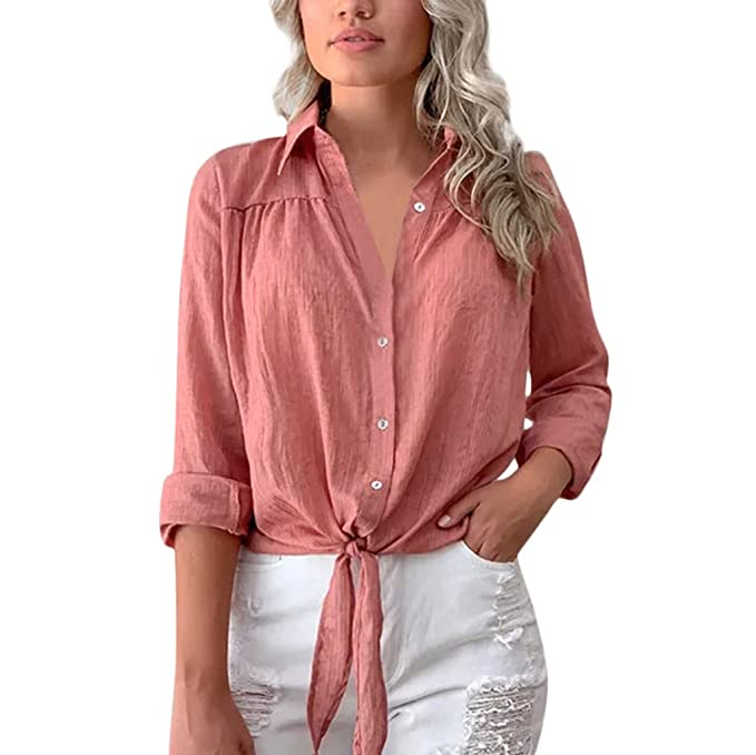 b5bcbae0739 Amazon.com  YESOT Fashion Womens Sexy V-Neck Chiffon tie Button Shirt Long Sleeve  Shirt Loose Casual Daily Beach Party T-Shirt  Clothing