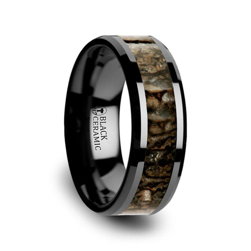 Thorsten Silurian Brown Earthtones Dinosaur Bone Inlay on Black Ceramic Wedding Band Beveled Edged Ring 8mm Custom Personalized Inside Engraved from Roy Rose Jewelry