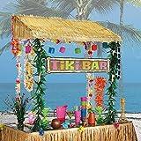 Party City Tiki Bar Hut, Includes Reusable Tiki Bar Hut and Decorative Hibiscus Garlands