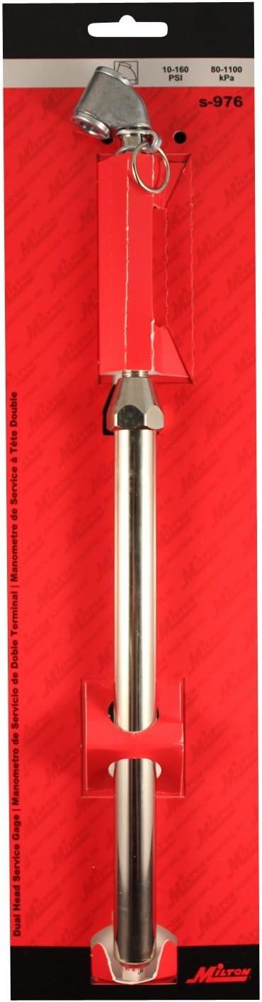 Milton S976 Dual Head Chuck Service Gauge 10-160 PSI