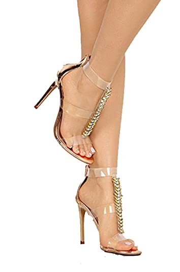 d861adef05bf Liliana Leska-55 Rose Gold Diamonds T-Strap Clear Strap Formal Dress Sandals  (