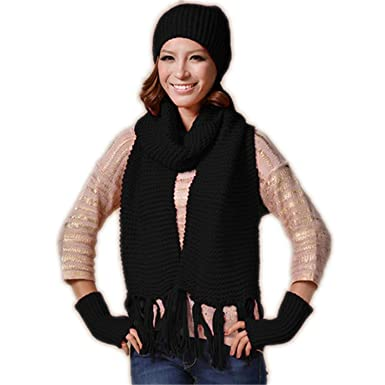 Scarfs Set Ladies Outdoor Autumn And Winter Warm Wool Hat Scarf Gloves Three-piece Hat And Scarf Set For Women
