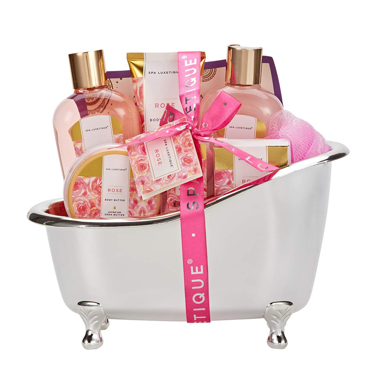Spa Luxetique Spa Gift Basket Rose Fragrance, Premium 8pc Gift Baskets for Women, Cute Bath Tub Holder - Best Holiday Spa Gift Set for Women- Bath Bombs, Shower Gel, Body Lotion & More! by spa luxetique