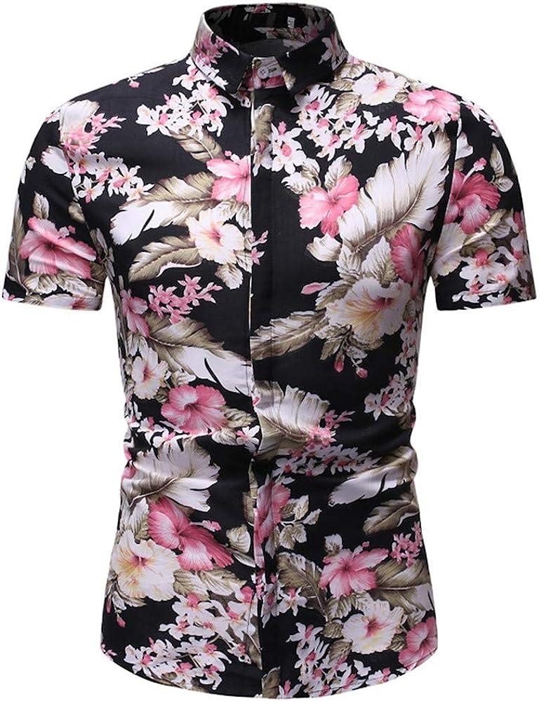 Camisas de Hombre T Shirt tee Moda Camiseta de Manga Corta con Estampado Hawaiana Estilo Verano La Solapa Casual Tops(Rosa M: Amazon.es: Ropa y accesorios