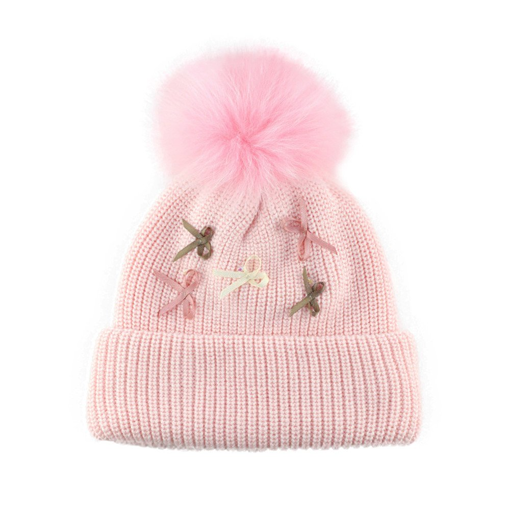 Beanie Pompom Hat Kids Baby Boys Girls Bowknots Autumn Winter Ski Knitted Cap