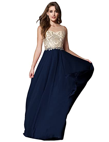 Sarahbridal Long Chiffon Illusion Scoop Party Dresses Elegant Prom Ball Gowns Dress with Sequins for Women