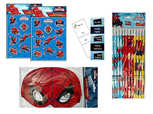 8 Guest Birthday Party Favors: Spider-Man Stickers, Masks, and Pencils