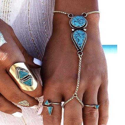 Simsly - Pulsera de plata con anillo de dedo para mujeres y niñas ...