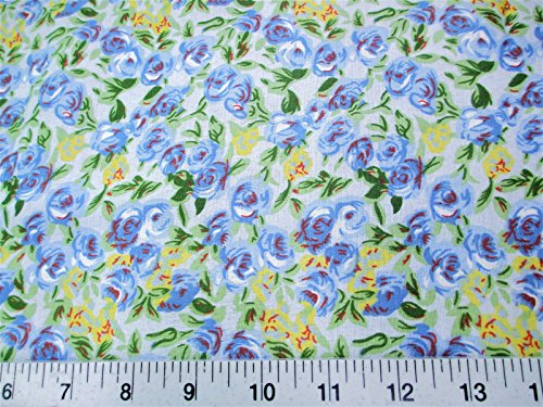Discount Fabric Cotton Apparel Blue, Yellow and Green Floral K404 (Blue Yellow Fabric)