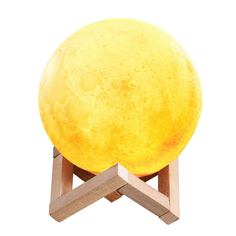LED Mond Lampe, 3D LED Mond Nachtlicht, USB Mond Dimmbare Nachtlampe -Touchschalter, 2 Wä hlbar Farben Tischlampe mit Tragbares Holzstä nder | Ideale Geschenk fü r Freunde, Kinder, Baby, Schü ler 15cm TenMotion
