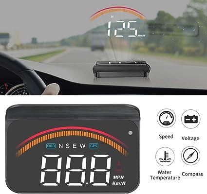 iKiKin Coche HUD con GPS OBD, Interfaces duales, Encabezar ...