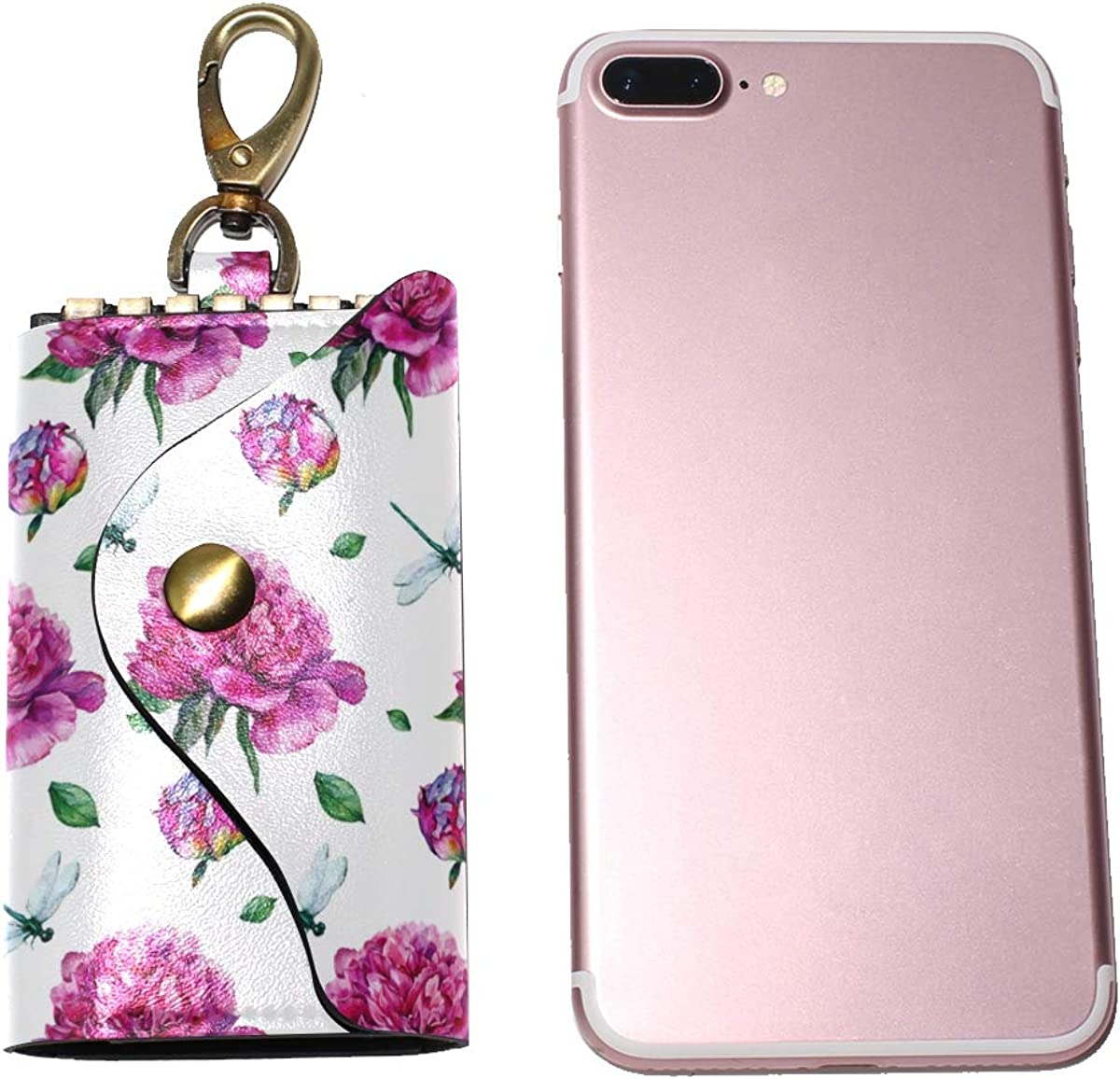 KEAKIA Watercolor Peonies And Dragonfly Leather Key Case Wallets Tri-fold Key Holder Keychains with 6 Hooks 2 Slot Snap Closure for Men Women