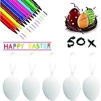 XJOO 50 Huevos de Pascua Huevos Blancos Plásticos