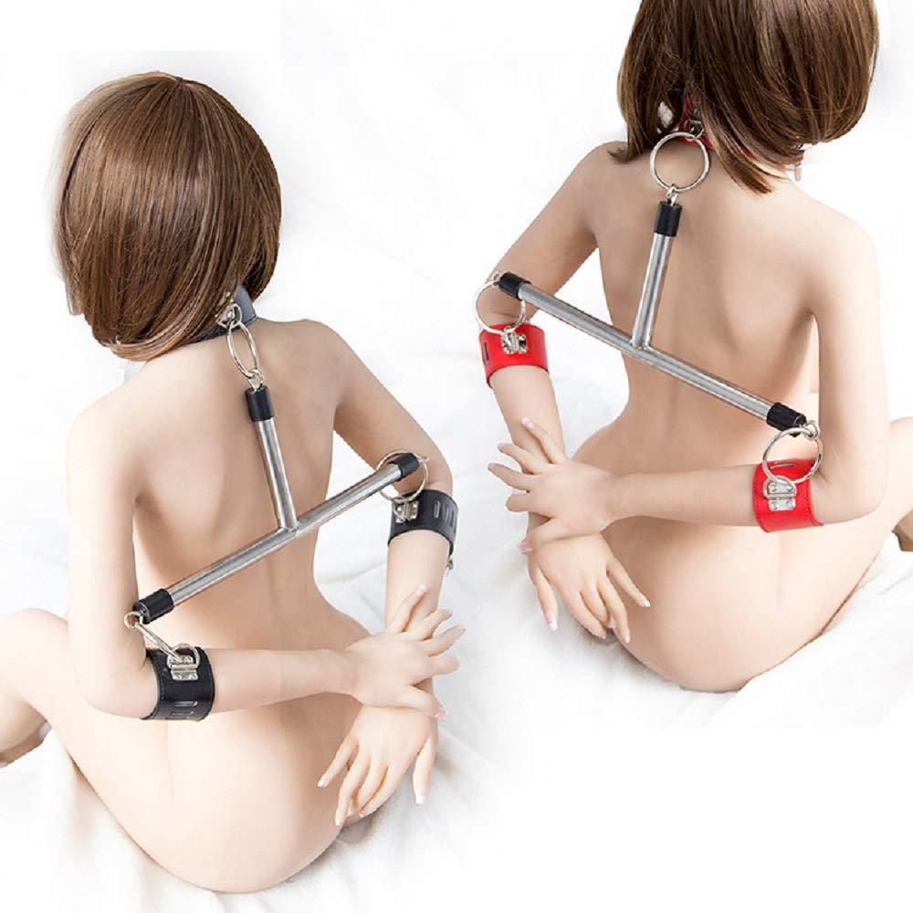 Leather Spreader Bar Position Master Neck Spreader Adjustable Cuffs Restraint Sports Training aid Tools for Cuffs (Black)