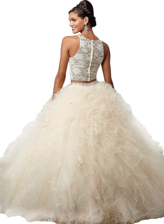 55d29c0516006d Amazon.com  ANGELA Women s Lace Crop Top Long 2 Piece Quinceanera Dresses  Ball Gown Prom Party Dress  Clothing