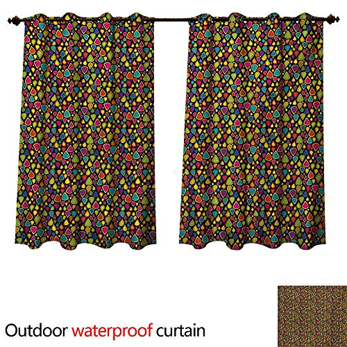 WilliamsDecor Sixties 0utdoor Curtains for Patio Waterproof Colorful Teardrop Shapes Pattern with Retro Inspirations on Dark Toned Background W63 x L72(160cm x 183cm)