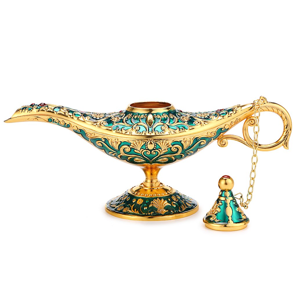 Hipiwe Vintage Magical Legend Aladdin's Genie Lamp for Home/Wedding Table Decoration,Collectable Rare Classic Arabian Costume Props Lamp Pot &Gift for Party/Halloween/Birthday(Green) by Hipiwe (Image #4)
