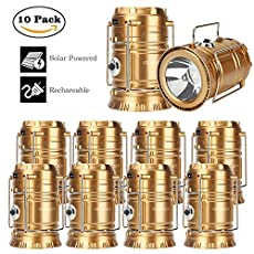 GT ROAD Solar Led Camping Lantern Flashlight Rechargeable(2Pack/4Pack/6Pack/10Pack)