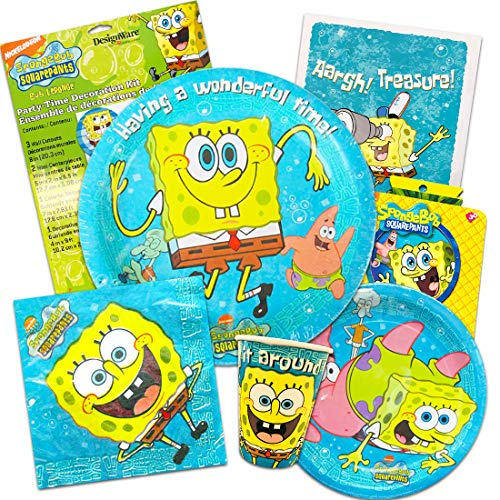 Spongebob Squarepants Party Supplies Ultimate Set ~ Birthday Party Decorations, Party Favors, Plates, Cups, Napkins, and More (Spongebob Party Supplies) ()
