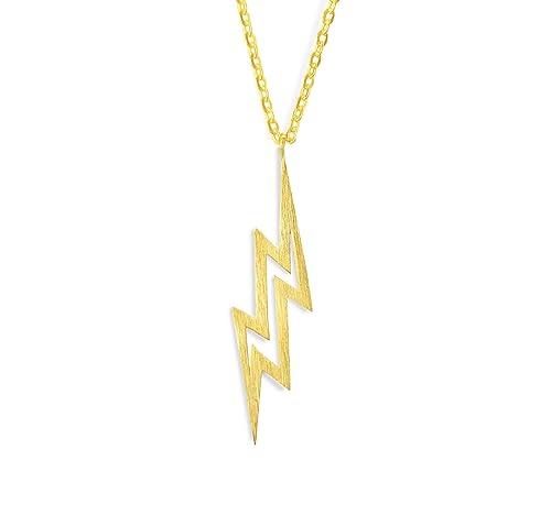 103c17aff654f Altitude Boutique Simple Lightning Necklace Pendant, The Flash Necklace,  Lightning Bolt Brushed Unisex (Gold, Silver)