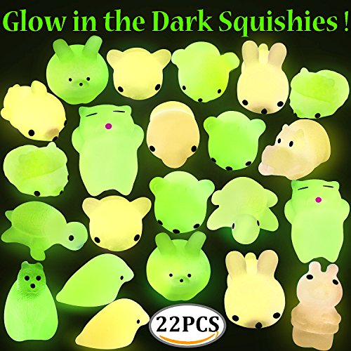 Mochi Squishy Toys, Outee 22 Pcs Glow in the Dark Squishy Soft Toys Stress Relief Squishy Mini Squishies Animal Stress Relief Mochi Squishy Animals Mini Squishies Kawaii Mini Mochi Squishy